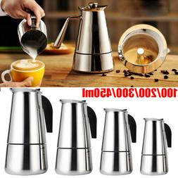 100-450ML Stainless Steel Stovetop Espresso Coffee Maker Per