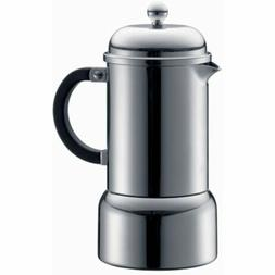 Bodum Chambord 6-Ounce Stainless-Steel Stovetop Espresso Mak