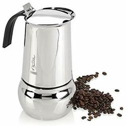 Kitty Stovetop Espresso & Moka Pots Stainless Steel 10 Cup M