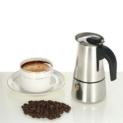 100ml 2-Cup Stainless Espresso Maker