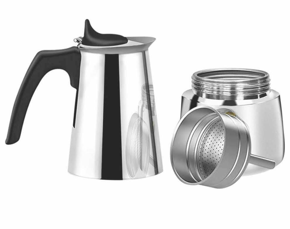 STAINLESS STEEL ESPRESSO MAKER W/3 COFFEE ML/ ./4 CUP/1 CUP =50ML