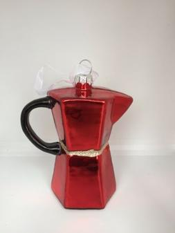 New Red Stovetop Espresso Maker Christmas Tree Ornaments Han