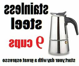 Stovetop Coffee Maker 2/4/6/9 CUP Stainless Steel  Espresso